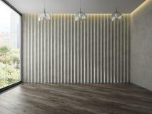 Sala vazia com rendição de vidro das lâmpadas 3D da árvore Fotos de Stock Royalty Free