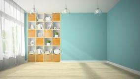 Sala vazia com rendição dos shelfs 3D da ameia Foto de Stock