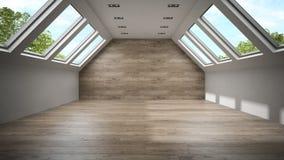 Sala vazia da mansarda com a parede de madeira 3D que rende 2 Imagens de Stock Royalty Free