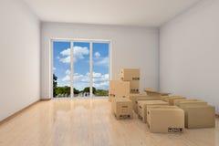 Sala vazia do escritório com caixas moventes Foto de Stock Royalty Free