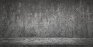 Sala vazia do muro de cimento e do assoalho do preto escuro imagem de stock royalty free