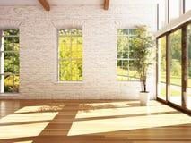 Sala vazia do negócio, ou residência com assoalhos de folhosa, as paredes de pedra e o fundo das madeiras imagem de stock royalty free