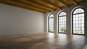Sala vazia do sótão com as janelas 3D do arco que rendem 2 ilustração do vetor