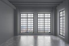 Sala vazia do sótão com parede cinzenta, janelas grandes com opinião da cidade ilustração do vetor