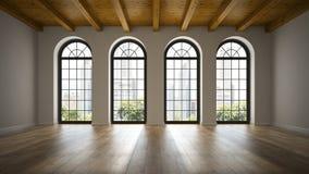 Sala vazia do sótão com rendição das janelas 3D do arco ilustração royalty free