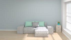 A sala vazia e do design de interiores mínimo da ilustração do conceito 3d do sofá a sala de visitas moderna copiam o espaço e ob ilustração do vetor