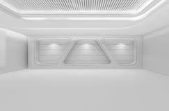 A sala vazia futurista, 3d rende o design de interiores, zombaria do branco acima Fotos de Stock