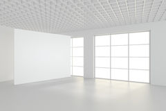 Sala vazia moderna com quadro de avisos branco 3d rendem Foto de Stock Royalty Free