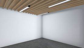 A sala vazia moderna, 3d rende o design de interiores, zombaria acima do illustrati Ilustração Stock
