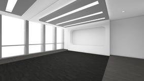 A sala vazia moderna, 3d rende o design de interiores, zombaria acima do illustrati Foto de Stock Royalty Free