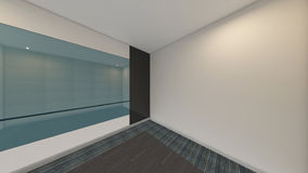 A sala vazia moderna, 3d rende o design de interiores, zombaria acima do illustrati Imagens de Stock