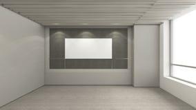 A sala vazia moderna, 3d rende o design de interiores, zombaria acima do illustrati Imagens de Stock Royalty Free