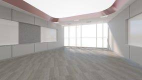 A sala vazia no escritório incorporado, 3d rende o design de interiores, zombaria Imagem de Stock Royalty Free