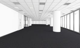 A sala vazia no escritório incorporado, 3d rende o design de interiores, zombaria Fotos de Stock
