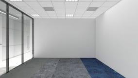 A sala vazia no escritório incorporado, 3d rende o design de interiores, zombaria Imagens de Stock