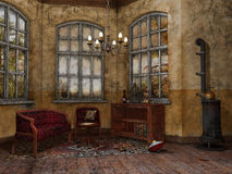 Sala velha com uma cadeira e um sofá ilustração stock