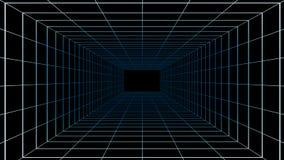 Sala virtual da realidade do Cyberspace no fundo preto, 3d ilustração royalty free