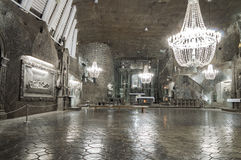 Sala w Solankowej kopalni w Wielickim, Polska Fotografia Royalty Free
