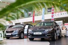 Sala wystawowa KIA i samochód przedstawicielstwo handlowe Kia Kirov w Kirov mieście Fotografia Royalty Free