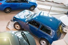 Sala wystawowa Lada i samochód przedstawicielstwo handlowe Gusar fabryczny Avtovaz wewnątrz Fotografia Stock