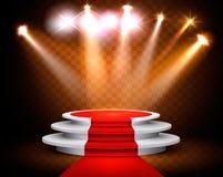 Sala wystawowej tło Z światłem reflektorów i czerwonym chodnikiem royalty ilustracja