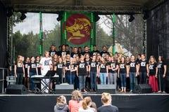 Salacgriva Lettland, internationell musikfestival LABADABA, Juli Arkivfoto