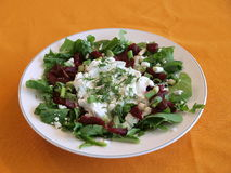 Salad. White plate of mixed salad with dressing on an orange tablecloth royalty free stock photos