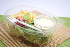 A salad. With cheese, ham and yogurt Royalty Free Stock Image