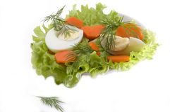 Salad. With carrot and egg is vitamin iingredient for eating Stock Photo