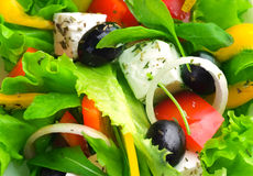 Salad. Healthy Eating concept. Fresh Greek Salad Background Stock Photo