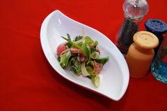 Salad. Salmon salad on restaurant table Stock Image