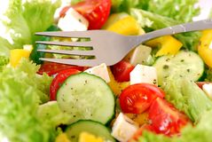 Salad. Closeup of a healthy salad with fresh vegetables Royalty Free Stock Photos