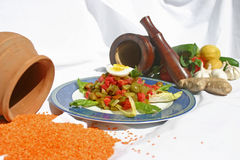 Salad. Middle eastern salad with clay pot in background Stock Image