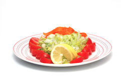 Salad. Dish of salad on white background Royalty Free Stock Images