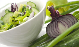 Salad. Preparation, components for Royalty Free Stock Photos