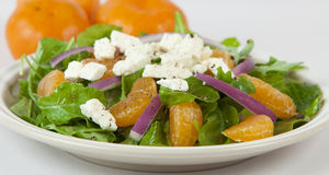 Salad. With orange slices, cheese and onions Stock Images