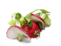 Salad. With fresh vegetables - cucumber, onion, radish, lettuce Royalty Free Stock Photo