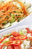 Salad. Close up to delicious salads which are made from onion,tomato,red pepper,carrot and coriander Royalty Free Stock Photos