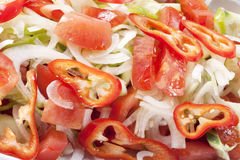 Salad. Close up to a delicious salad which is made from onion,tomato and red pepper Royalty Free Stock Photography