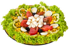Salad. Vegetable salad with cheese on white Stock Images