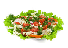 Salad. Healthy vegetable salad with lettuce, orange pepper, tomatoes and radish Stock Image