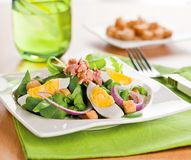 Salad. Fresh summer light salad with eggs and greens Royalty Free Stock Photo