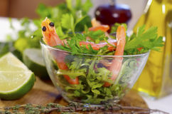 Salad. With shrimps and parsley Stock Image