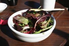 Salad. Bowl of salad with an asian dressing and chopsticks Stock Image