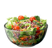 Salad. With fresh lettuce leaves, tomato,feta, olives, pepper Royalty Free Stock Image