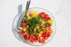 Salad. On the white table Stock Photography