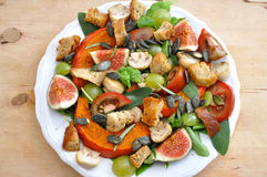 Salad. With figs, tomatos and squash stock photos