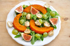 Salad. Fresh Salad on a plate with squash and figs stock images
