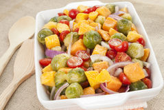 Salad. Brussels sprouts and butternut squash with orange vinaigrette salad served in a white casserole dish. Selective focus with shallow DOF. Natural light Royalty Free Stock Photo