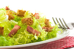 Salad. With bacon and croutons. French traditional cuisine Stock Photos